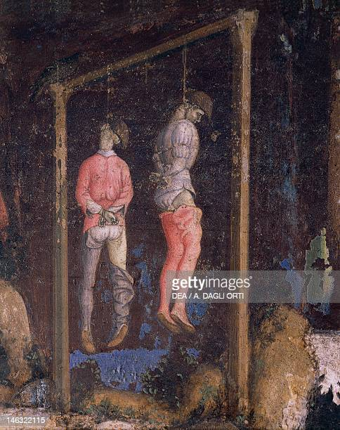The hanged men detail from of St George and the Princess 14331435 by Antonio Pisano known as Pisanello fresco 223x430 cm Church of Santa Anastasia...