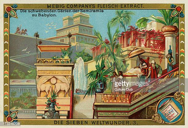 The Hanging Gardens of Babylon . A legendary wonder of the ancient world supposedly built in the ancient city-state of Babylon, Iraq.Liebig card,...