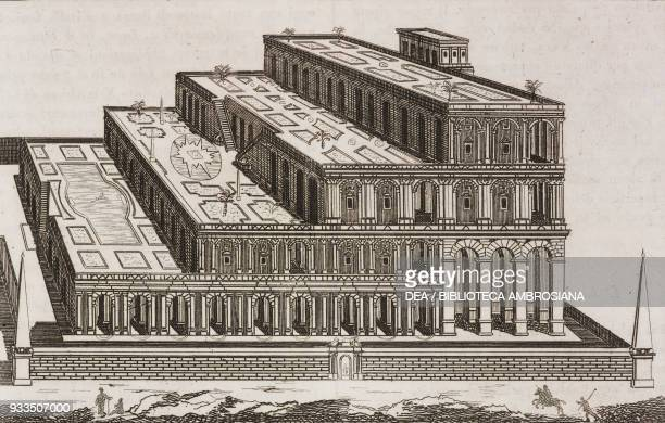 The Hanging Gardens of Babylon, built by King Nebuchadnezzar, Iraq, engraving from L'album, giornale letterario e di belle arti, Saturday, August 2...