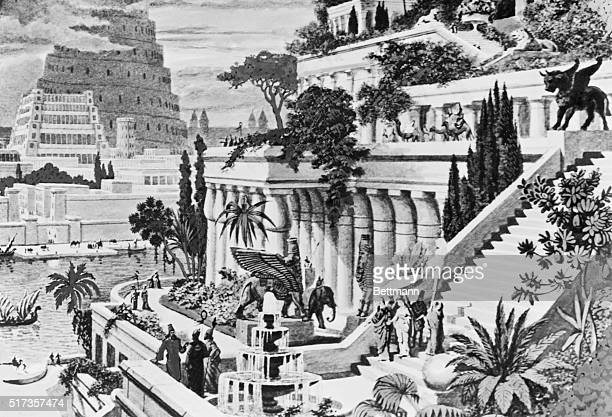 The Hanging Gardens of Babylon. Reconstruction. Undated engraving. BPA2# 5522