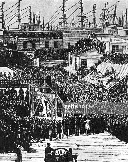 The hanging of Hetherington and Brace, San Francisco, 29th July 1856 . Joseph Hetherington and Philander Brace were executed for four murders by the...