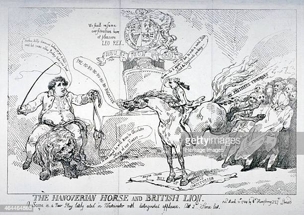 'The Hanoverian horse and British lion' 1784 Scene in the House of Commons On the left Charles James Fox is riding the British lion facing William...