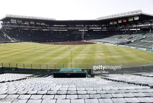 The Hanshin Tigers and the Hiroshima Carp play a practice game at Koshien Stadium in Nishinomiya, western Japan, on June 2, 2020. Japan's...