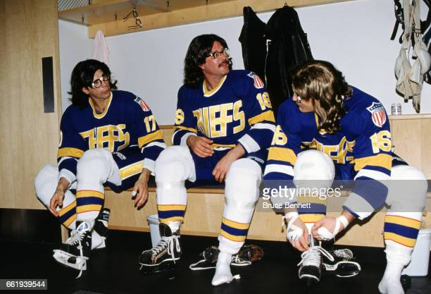 The Hanson Brothers from the movie Slapshot Jack Hanson Steve Hanson and Jeff Hanson get dressed before an NHL game circa December 1993 at the...
