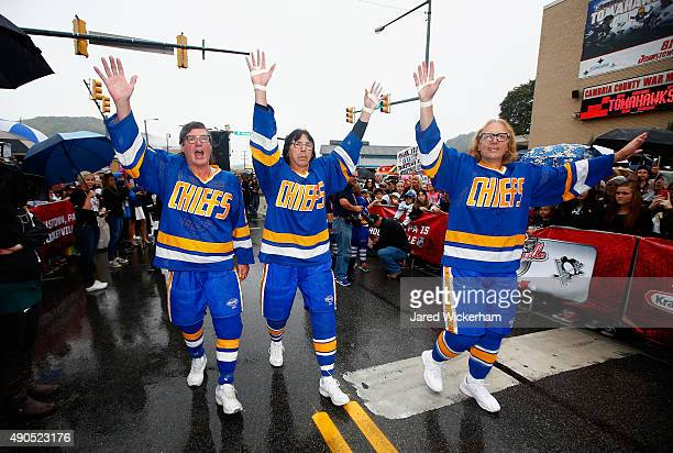 The Hanson Brothers Jeff Carlson Steve Carlson and Dave Hanson greet fans outside the Cambria County War Memorial Arena before the Pittsburgh...