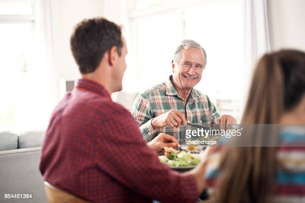 the happiest times are spent with family - senior lunch stock photos and pictures