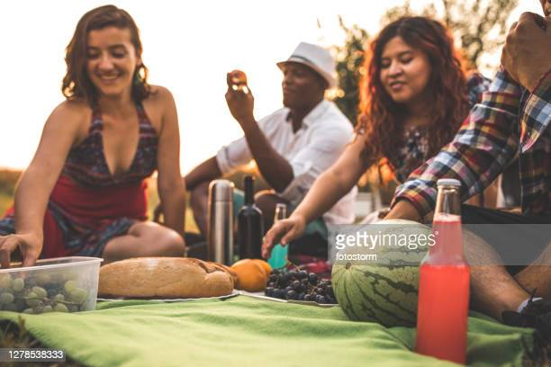 the happiness of sharing with friends - mexican picnic stock pictures, royalty-free photos & images