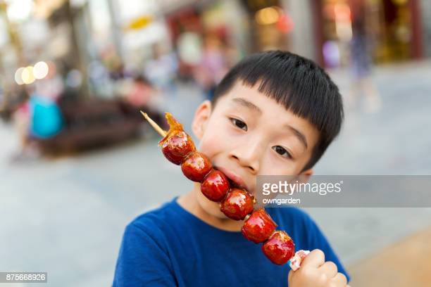 The happy boy eating the ice-sugar gourd
