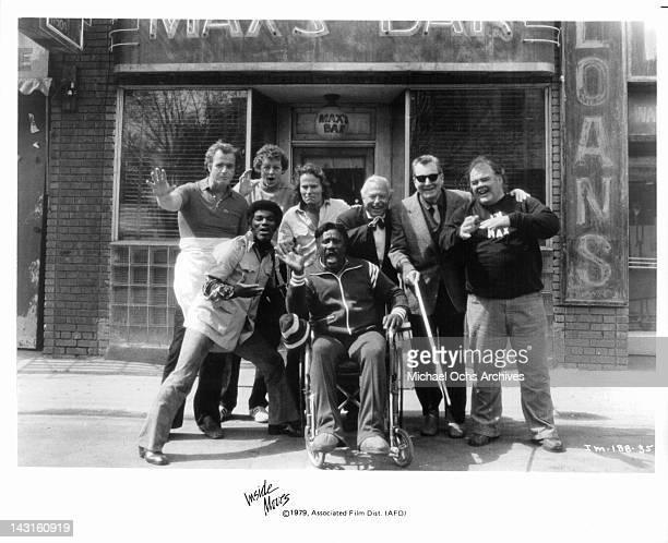 The happy patrons of Max's Bar Bill Henderson in wheelchair Arnold Williams Steve Kahn David Morse John Savage Harold Russell Bert Remsen and Jack...