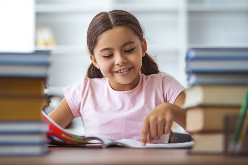 The happy schoolgirl sitting at the desk with books 1060219386