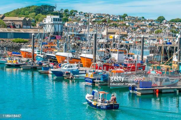 The harbor at Newlyn fishing village near Penzance in Cornwall England UK