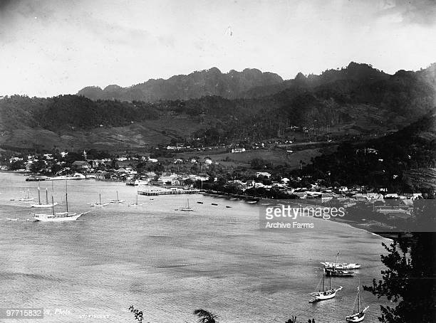 The harbor of Kingstown the capital city of St Vincent West Indies