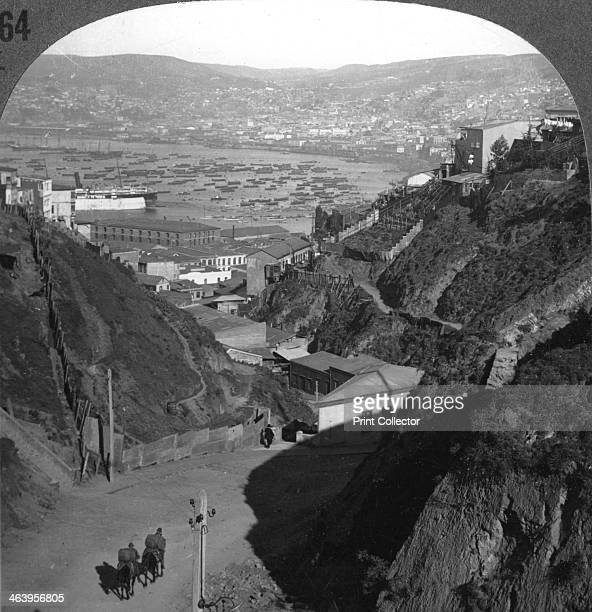 The harbour and city of Valparaiso Chile c1900s The word valparaiso means valley of paradise Stereoscopic card Detail