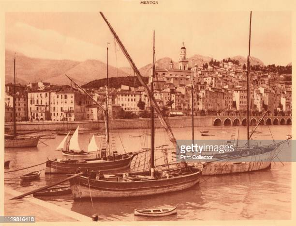 'The harbour and old town Menton' 1930 From La Cote d'Azur de Marseille a Menton [Levy Neurdein Paris 1930] Artist Unknown