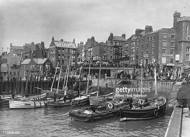 The harbour at Bridlington, Yorkshire, circa 1920.
