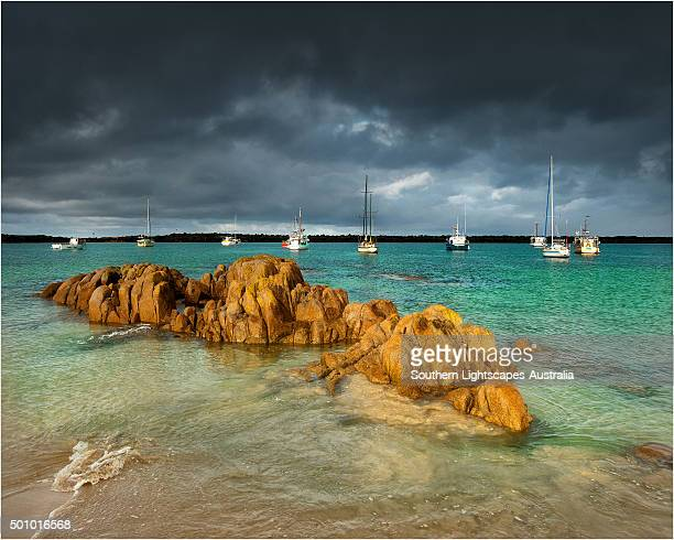 The Harbour at Grassy, a small village on the south Eastern coastline of King Island, once famous for its Scheelite mine. Bass Strait Tasmania.