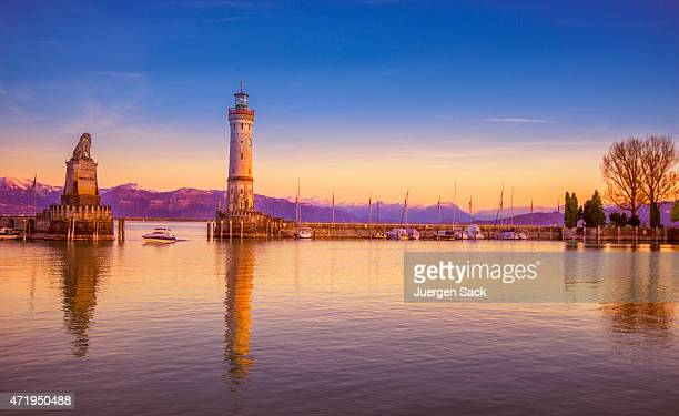 The harbour entrance of Lindau (Bodensee) at dusk