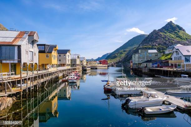 the harbour in fishingvillage nyksund in vesterålen norway - finn bjurvoll stock pictures, royalty-free photos & images