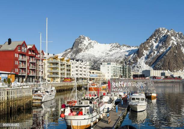 The harbour in the town of Svolvaer island Austvagoya The Lofoten islands in northern Norway during winter Europe Scandinavia Norway February