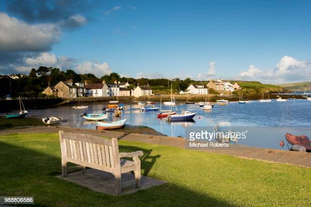 the harbour of newport parrog, pembrokeshire - newport wales stock pictures, royalty-free photos & images