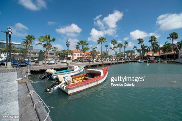 the harbour of oranjestad, aruba. - oranjestad stockfoto's en -beelden