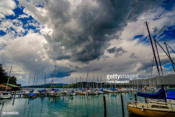 The harbour of town with sailing boats at Lake Wörth, Wörthersee, Carinthia's largest lake.
