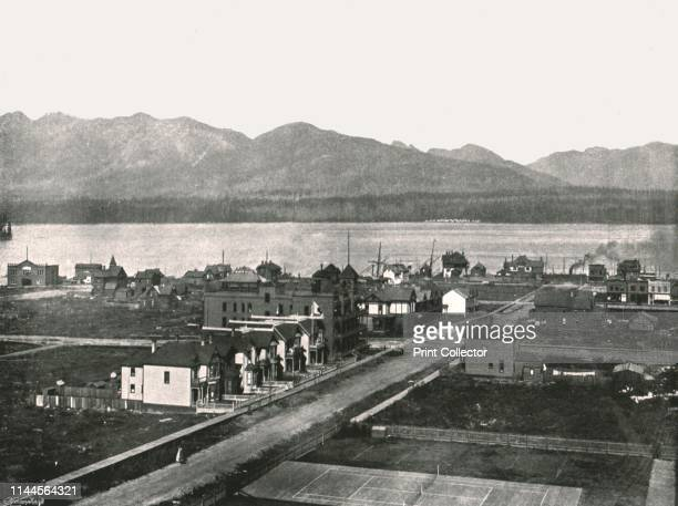 The harbour Vancouver Canada 1895 View from the Canadian Pacific Railway hotel at Vancouver British Columbia From Round the World in Pictures and...