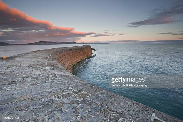 The harbour wall known as the Cobb in Lyme Regis.
