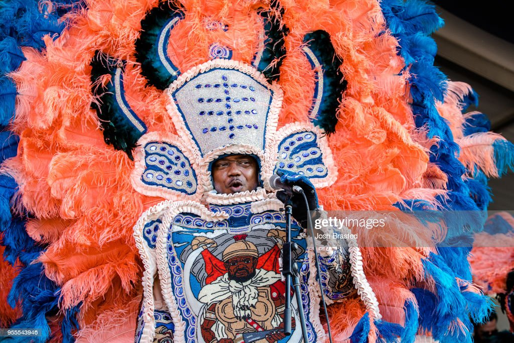 The Hard Head Hunters Mardi Gras Indians perform during the New Orleans Jazz & Heritage Festival at Fair Grounds Race Course on May 6, 2018 in New Orleans, Louisiana.