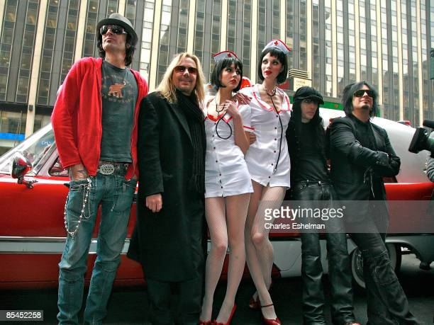 The hard rock band Motley Crue' Tommy Lee Vince Neil naughty nurses Mick Mars and Nikki Sixx attend a press conference to announce Crue Fest 2 at...