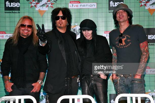 The hard rock band Motley Crue' Vince Neil Nikki Sixx Mick Mars and Tommy Lee attend a press conference to announce Crue Fest 2 at Fuse on March 16...