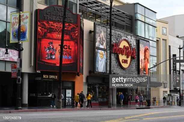 The Hard Rock Cafe is seen on Hollywood Blvd March 15 2020 in Hollywood California California Governor Gavin Newsom said at a press conference today...