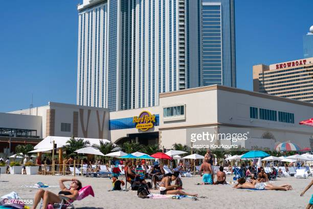 The Hard Rock Hotel and Casino previously the Trump Taj Mahal stands on June 29 2018 in Atlantic City New Jersey The Hard Rock is one of two new...