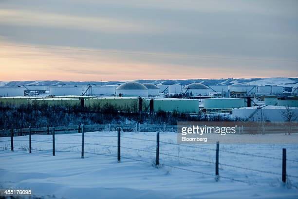 The Hardisty tank farm which includes the TransCanada Corp Hardisty Terminal 1 stands in Hardisty Alberta Canada on Saturday Dec 7 2013 Canadian...