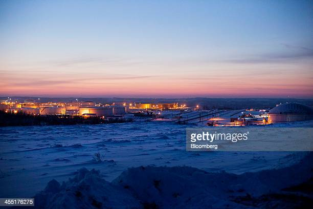 The Hardisty tank farm which includes the TransCanada Corp Hardisty Terminal 1 stands at dusk in Hardisty Alberta Canada on Friday Dec 6 2013...