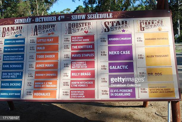 The Hardly Strictly Bluegrass Festival Show Schedule for Sunday October 4 2009 in San Francisco California which included Emmylou Harris The Del...
