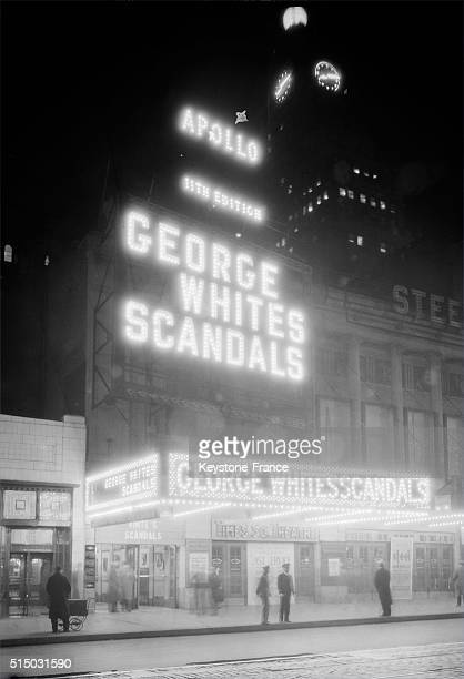 The Harlem Apollo Theater by night in New York City circa 1930