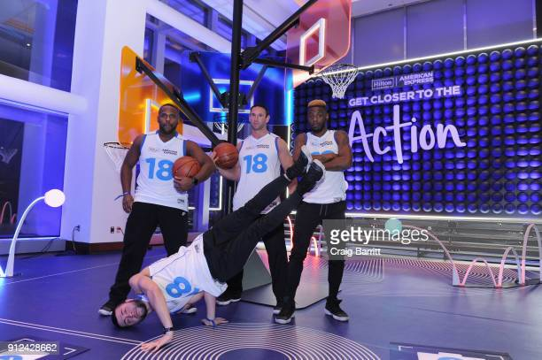 The Harlem Globe Trotters enjoy a unique experience at the Hilton and American Express event at the Conrad New York on January 30 2018 in New York...