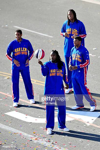 The Harlem Globe Trotters participate in the 2014 Rose Parade on January 1 2014 in Pasadena California
