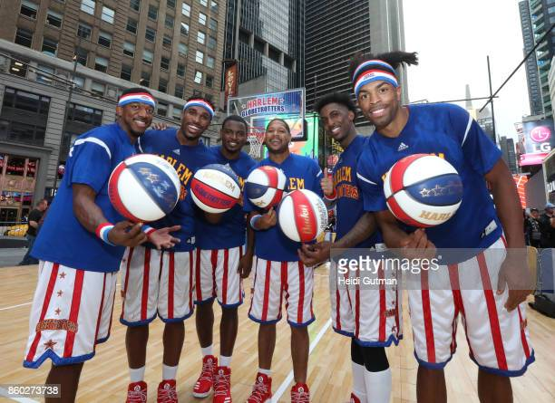 AMERICA The Harlem Globetrotters go for the Guinness Book World Record for most half court shots in an hour on 'Good Morning America' on Wednesday...