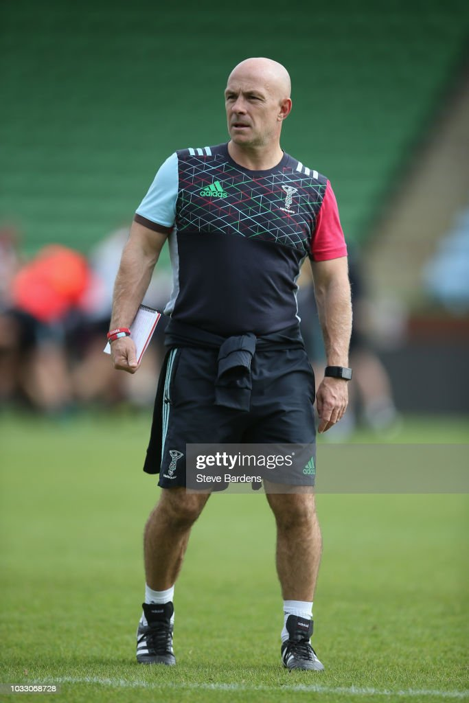 The Harlequins attack coach, Mark Mapletoft looks on during the captain's run at Twickenham Stoop on September 14, 2018 in London, England.