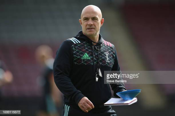 The Harlequins attack coach Mark Mapletoft looks on during the captain's run at Twickenham Stoop on September 14 2018 in London England