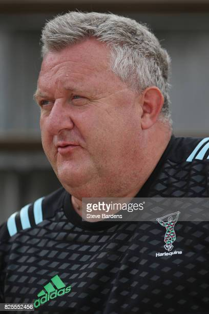 The Harlequins Director of Rugby John Kingston during a training session at the AdiDassler Stadion on August 2 2017 in Herzogenaurach Germany