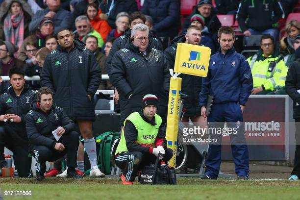 The Harlequins Director of Rugby John Kingston watches from the sideline during the Aviva Premiership match between Harlequins and Bath Rugby at...