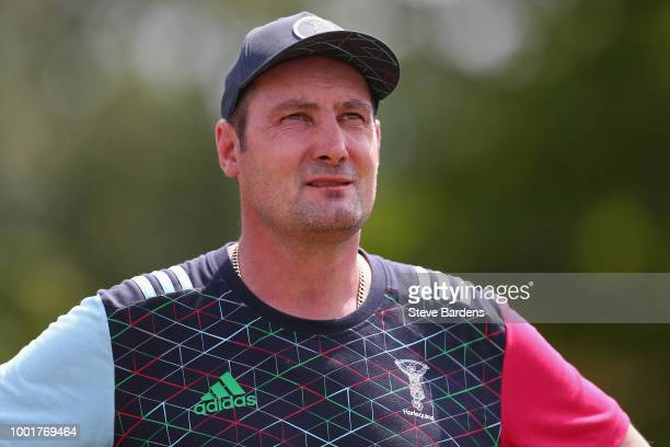 The Harlequins Forwards Coach Alex Codling looks on during a Harlequins training session at Surrey Sports Park on July 19 2018 in Guildford England
