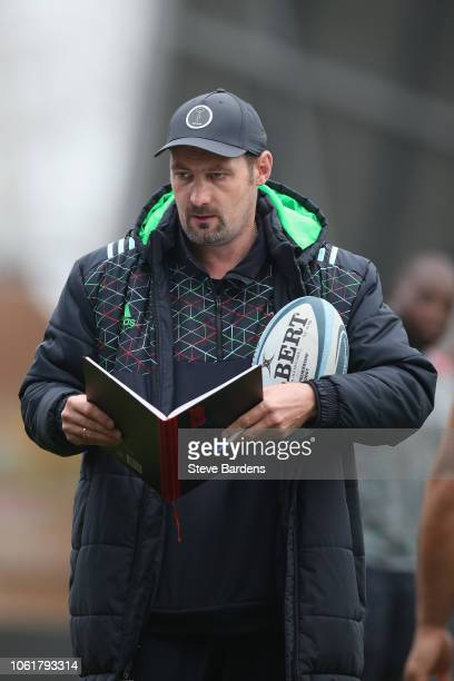 The Harlequins Forwards Coach Alex Codling looks on during a Harlequins training session at Twickenham Stoop on November 15 2018 in London England
