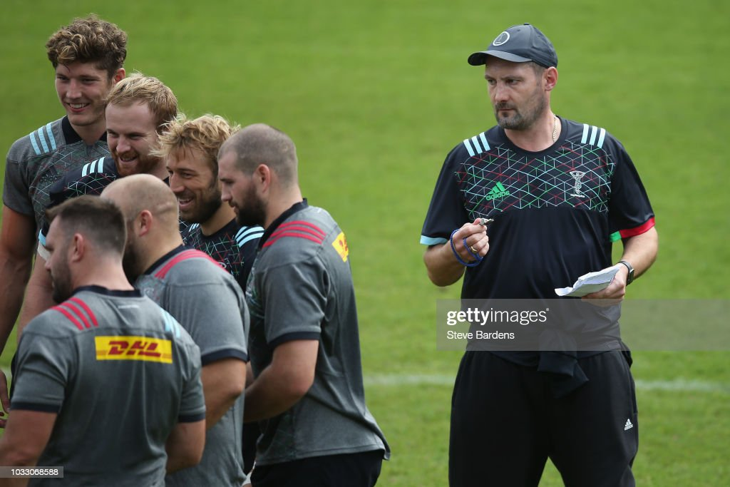 The Harlequins forwards coach Alex Codling looks on during the captain's run at Twickenham Stoop on September 14, 2018 in London, England.