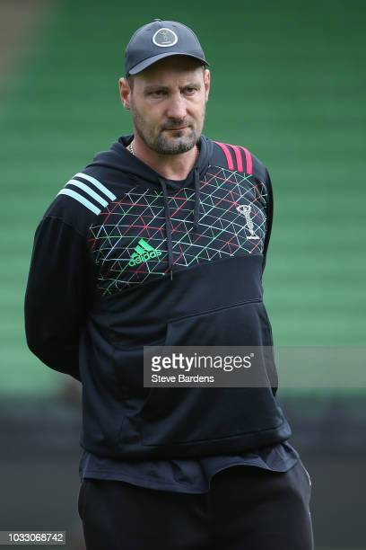The Harlequins forwards coach Alex Codling looks on during the captain's run at Twickenham Stoop on September 14 2018 in London England
