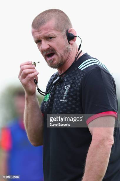 The Harlequins forwards coach, Graham Rowntree looks on during a training session at the Adi-Dassler Stadion on August 2, 2017 in Herzogenaurach,...