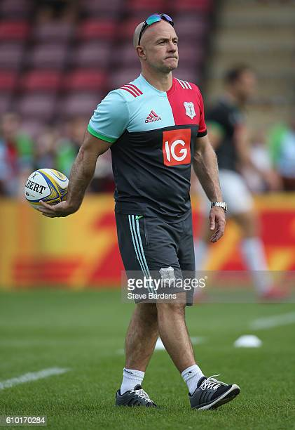 The Harlequins Head Coach Mark Mapletoft looks on prior to the Aviva Premiership match between Harlequins and Saracens at Twickenham Stoop on...
